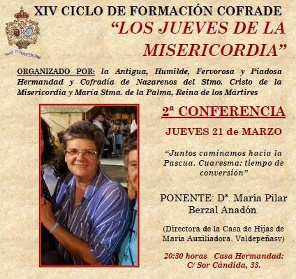 2ª Conferencia Ciclo de Formación. Ponente: Mª. Pilar Berzal Anadón. Directora Casa Hijas María Auxiliadora de Valdepeñas.