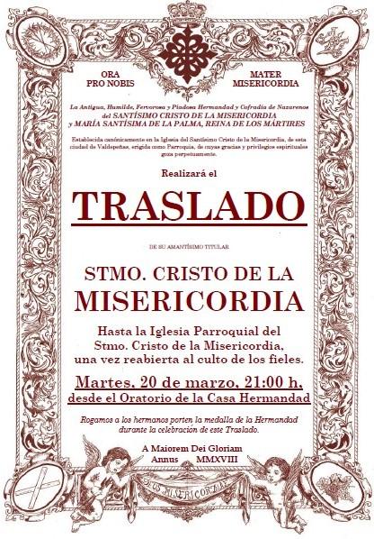 Nueva fecha y hora para el Traslado del Stmo. Cristo de la Misericordia a su Iglesia Parroquial.