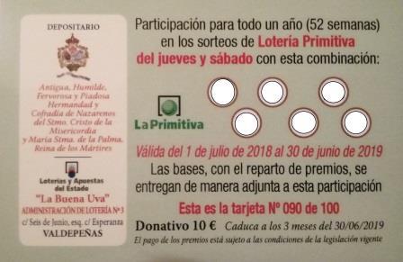 Venta de los abonos de la Lotería Primitiva 2018/19