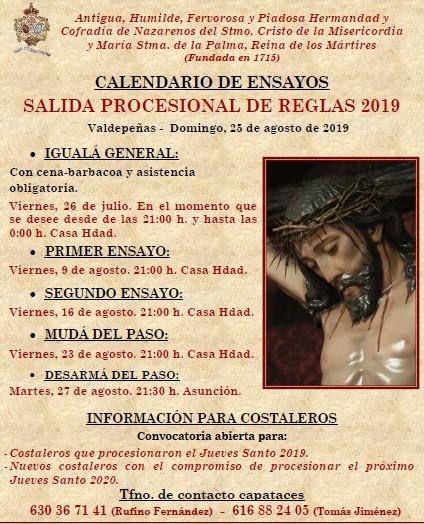 Calendario de ensayos Salida Procesional de Reglas 2019. Costaleros Misericordia y Palma.
