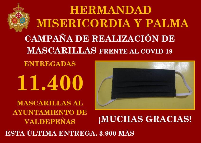 Finaliza la campaña de realización de mascarillas con la entrega de 11.400 mascarillas al Excmo. Ayuntamiento de Valdepeñas.