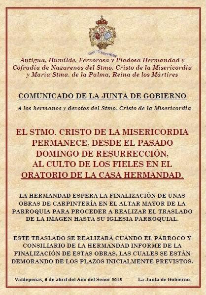 Comunicado de la Junta de Gobierno a los hermanos y fieles del Stmo. Cristo de la Misericordia.