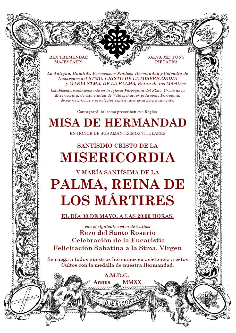 Se reanudan los Cultos presenciales: Misa mensual de Hermandad. Sábado, 30 mayo, 20:00 h.