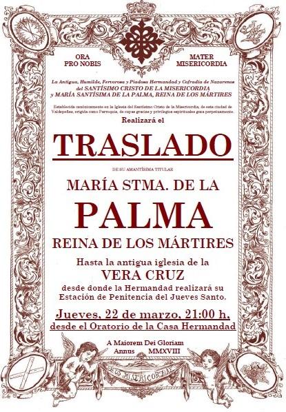 Modificación de la fecha del Traslado de la Stma. Virgen a la Vera Cruz. Jueves, 22 de marzo, 21:00 h.