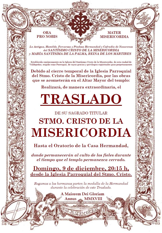 Traslado Extraordinario del Stmo. Cristo de la Misericordia por obras en el Altar Mayor de su templo parroquial.
