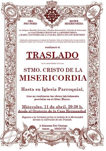 Hoy, miércoles 11, a las 20:30 h., Traslado del Stmo. Cristo de la Misericordia a su Iglesia Parroquial.
