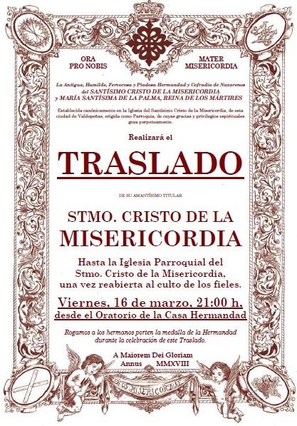 TRASLADO DEL STMO. CRISTO DE LA MISERICORDIA A LA IGLESIA PARROQUIAL PARA SU REPOSICIÓN AL CULTO
