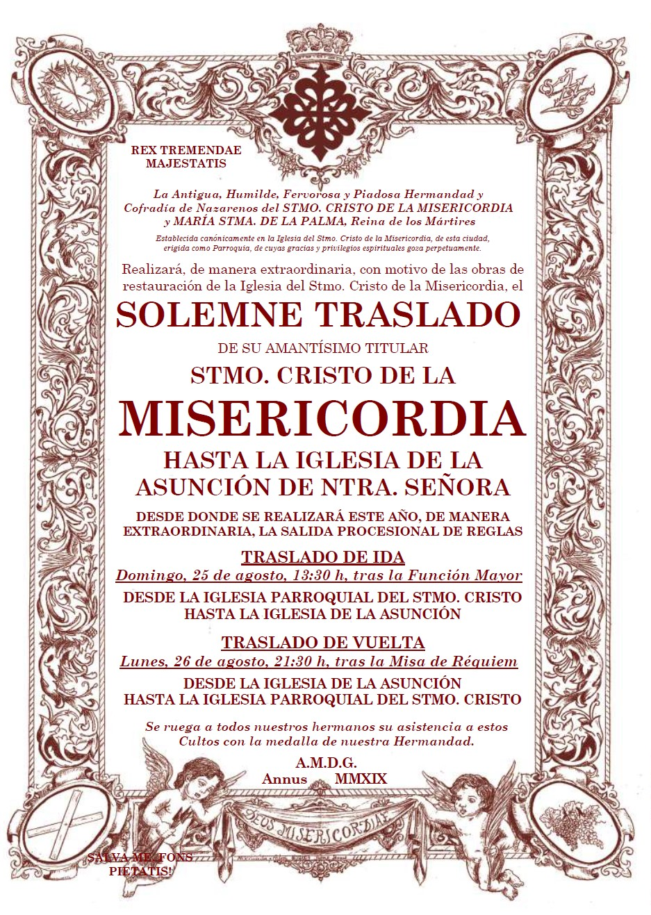 Traslado del Stmo. Cristo de la Misericordia a la Iglesia de la Asunción de Nuestra Señora para la Salida Procesional de Reglas.