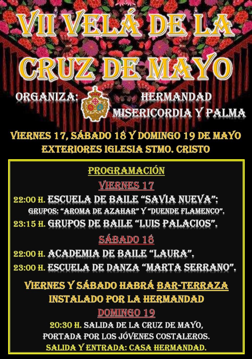 Recordatorio. Este viernes 17 y sábado 18 de mayo, se celebra la VII Velá de la Cruz de Mayo de Misericordia y Palma.