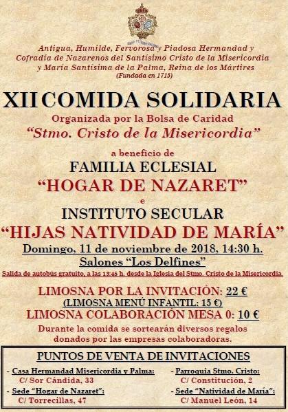 Domingo, 11 de noviembre, XII Comida Solidaria de la Bolsa de Caridad