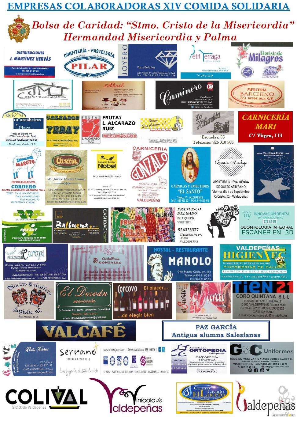 Empresas colaboradoras de la XIV Comida Solidaria