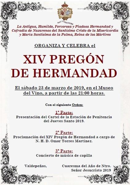 Este sábado, 23 de marzo, XIV Pregón de Hermandad y Presentación del Cartel del Jueves Santo de Misericordia y Palma.