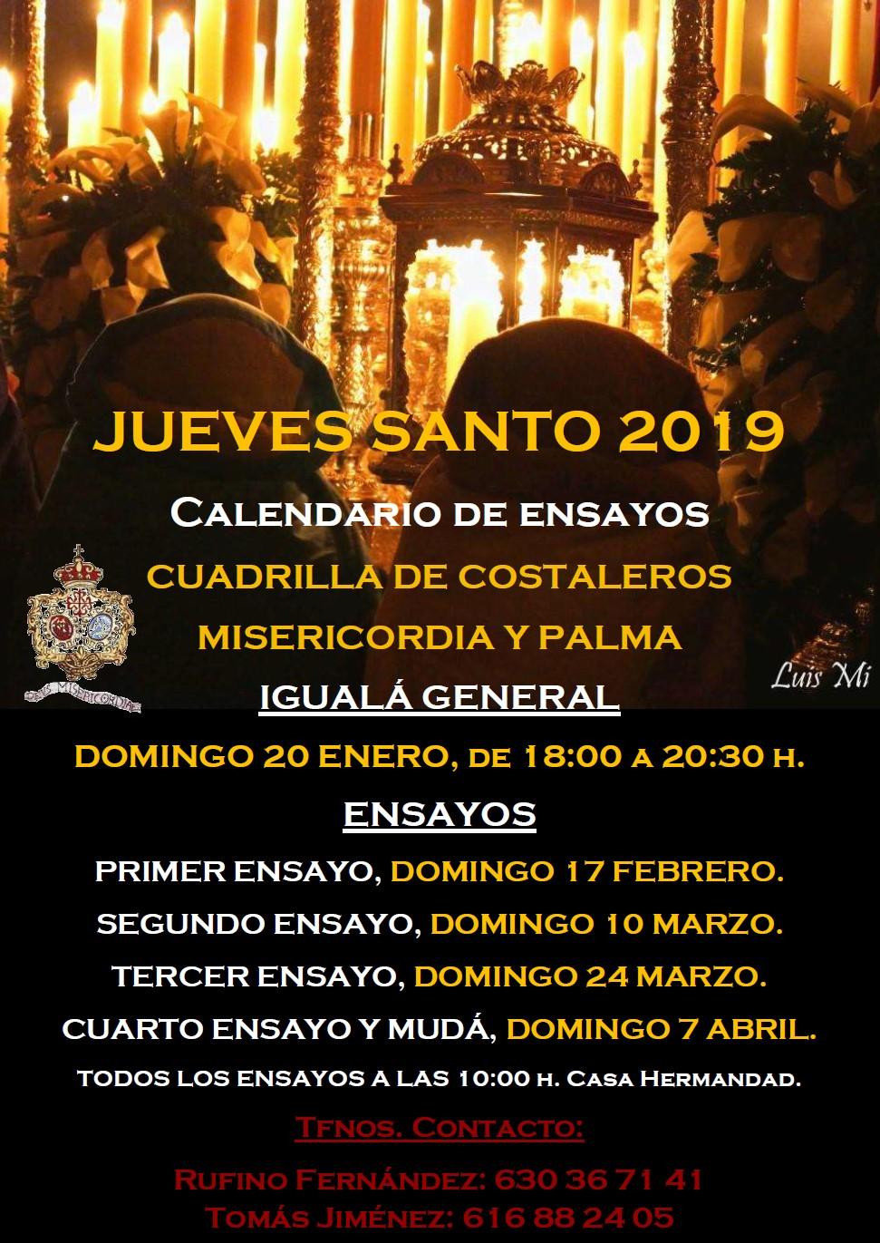 Calendario de ensayos costaleros Misericordia y Palma, Jueves Santo 2019.