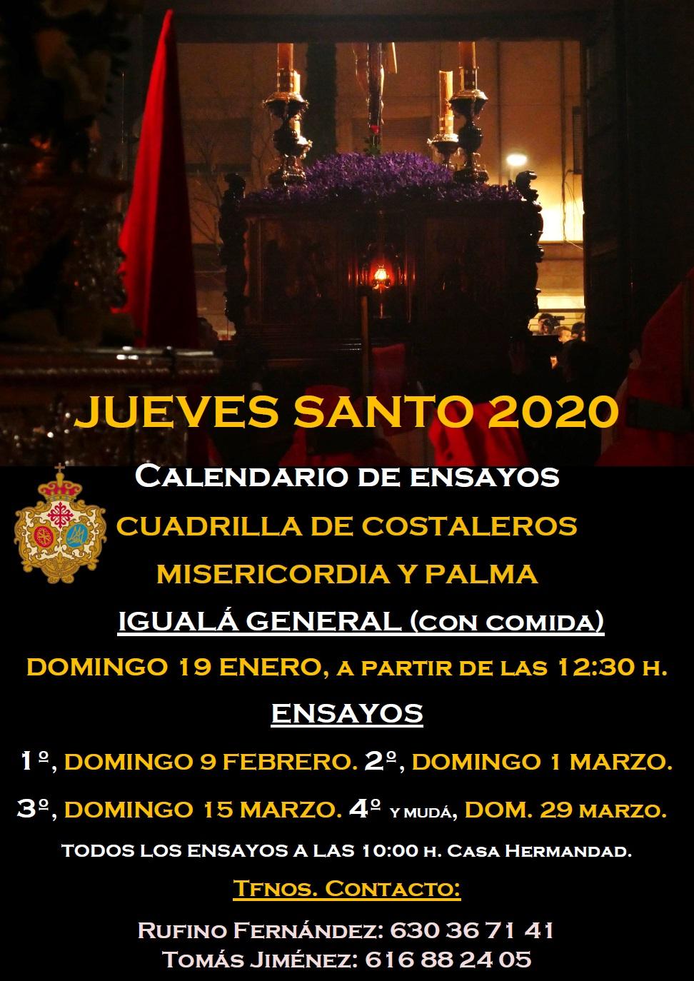 Calendario de ensayos costaleros Jueves Santo 2020 Misericordia y Palma