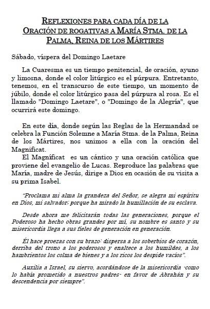 Meditación del último día de la Oración de Rogativa a María Stma. de la Palma, Reina de los Mártires.