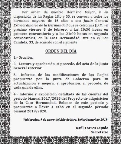 Viernes, 8 febrero. Junta General Extraordinaria de hermanos.