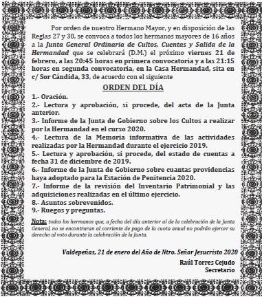 Recordatorio de Junta General de Cultos, Cuentas y Salida de la Hermandad.