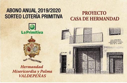 A la venta los abonos de la Hermandad a la Lotería Primitiva del periodo julio2019/junio2020