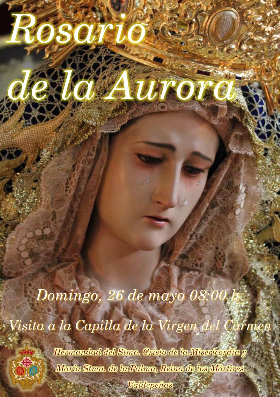 Convocatoria de hermanos para portar las andas de la Stma. Virgen en su Rosario de la Aurora.