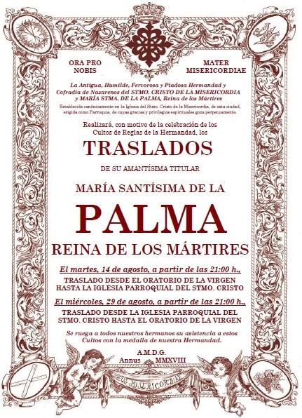 Esta noche, Traslado de María Stma. de la Palma, Reina de los Mártires, a la Iglesia Parroquial del Stmo. Cristo de la Misericordia.