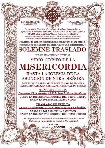 Misa de Requiem y Traslado de vuelta del Stmo. Cristo de la Misericordia.